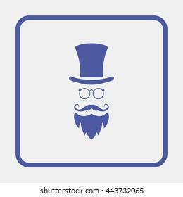 Monocle. Mustaches. Hat.