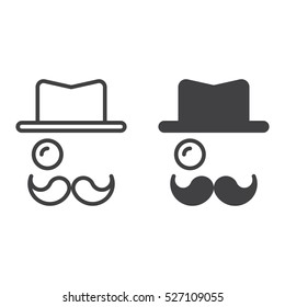 Monocle, Mustaches, Hat line icon, outline and filled vector sign, linear and full pictogram isolated on white, logo illustration