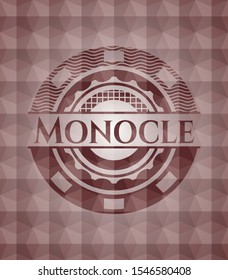 Monocle red badge with geometric pattern background. Seamless.