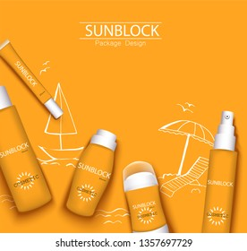 mono-color orange trendy illustration, sun-protection cosmetics packaging design template. Sunscreen and sunblock cream, spray, milk, antiperspirant