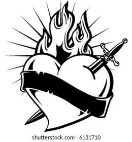 monocrome heart in fire