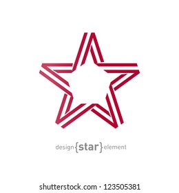 The monocrome red star from ribbon vector illustration
