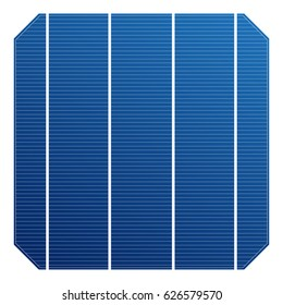 Monocrystalline solar cell for solar panel. Vector solar element high efficiency. Electric element for charge battery.