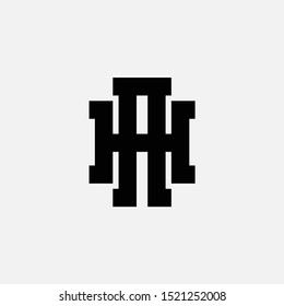 monogram AH, HA, H, A white background and black, clothing, sport, and apparel design, identity