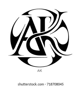 ak images stock photos vectors shutterstock https www shutterstock com image vector monogram ak letters 718708045