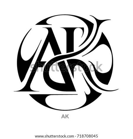 monogram ak letters ak のベクター画像素材 ロイヤリティフリー