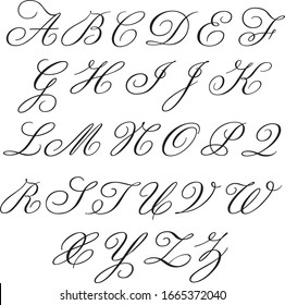Monogram alphabet with uppercase and lowercase letters in copperplate style