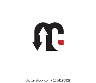 monogram anagram lettermark logo of letter m i n t with up and down arrows head
