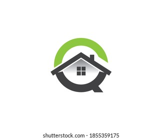monogram anagram lettermark logo of letter C O Q with roof window and house inside