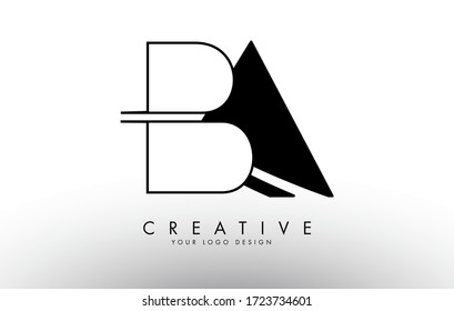 Monogram BA B A Letters Logo Design with black and white shapes. Creative BA Letter Icon with Black Shapes and Outline Vector Illustration.