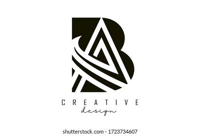 Monogram BA B A Letters Logo Design with Black and White Shapes and Layers. Creative BA Letter Icon vector illustration.