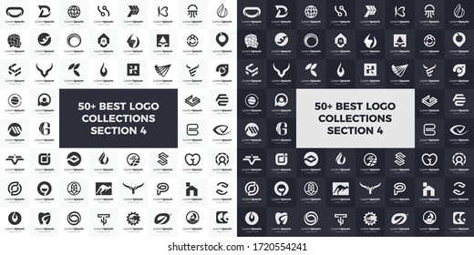 Monogram black and white flat logo set collection. Icon abstract geometric modern, creative, simple and minimalist. bundle logos and favicon for business design vector templates.