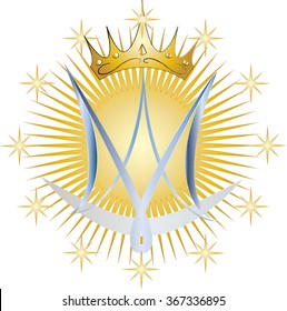 Monogram of the Blessed Virgin Mary, with crown, twelve stars, sun and half moon, with blue gradient letters. Color vector symbol illustration.