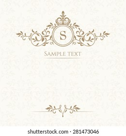 Monogram, border and classic seamless pattern. Template for greeting cards, invitations, menus, labels. Graphic design page.