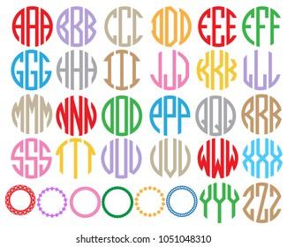 Monogram circle alphabet.