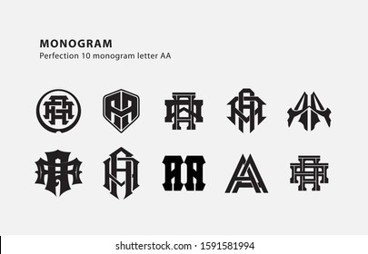 monogram collection letter AA black on white background for clothing, apparel, sport, company
