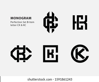 monogram collection letter CK or KC black on white background for clothing, apparel, sport, company