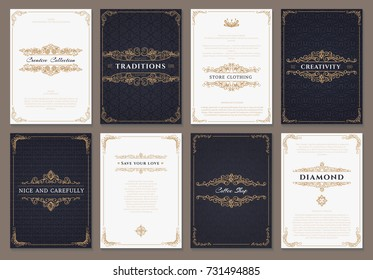Monogram creative cards template with beautiful flourishes ornament elements. Elegant design for corporate identity, logo, invitation. Design of background products.