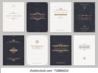 Monogram creative cards template with flourishes ornament elements. Elegant design for cafe, restaurant, heraldic, jewelry, fashion.