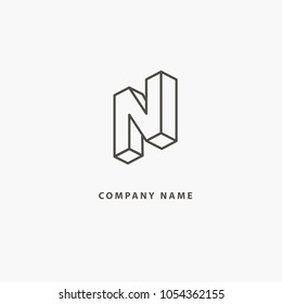 Monogram design elements, graceful template. Calligraphic elegant line art logo design. Letter N vector logo. Vintage Insignia and Logotype. Business sign, identity, label, badge of restaurant, Hotel.