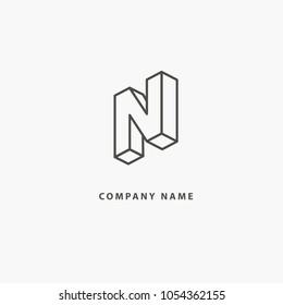 Monogram design elements, graceful template. Calligraphic elegant line art logo design. Letter N vector logo. Vintage Insignia and Logotype. Business sign, identity, label, badge of restaurant, Hotel.