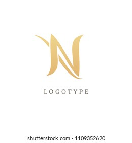 Monogram design elements, graceful template. Calligraphic elegant logo design. N logo line art monogram. Letter N on a dark background. Business sign, identity, label, badge initials