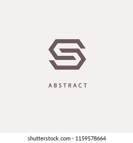 Monogram design elements, graceful template. Calligraphic elegant logo design. S logo line art monogram. Letter S on a dark background. Letter S vector logo. Business sign, identity, label, badge.