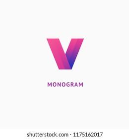 Monogram design elements, graceful template. Calligraphic elegant logo design. V logo line art monogram. Letter V on a white background. Letter V vector logo. Business sign, identity, label, badge.