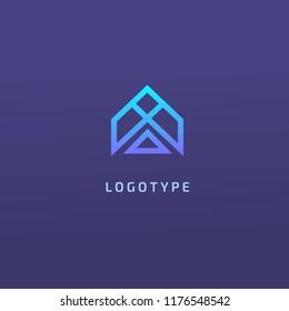Monogram design elements, graceful template. Calligraphic elegant logo design. A logo line art monogram. Letter A on a dark background. Letter A vector logo. Business sign, identity, label, badge.