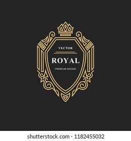 Monogram design elements, graceful template. Calligraphic elegant line art logo design. Emblem sign for Royalty, business card, Boutique, Hotel, Restaurant, wine. Vector illustration