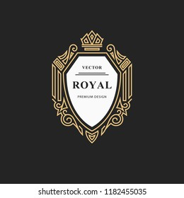 Monogram design elements, graceful template. Calligraphic elegant line art logo design. Emblem sign for Royalty, business card, Boutique, Hotel, Restaurant, wine. Vector illustration
