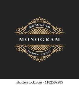 Monogram design elements, graceful template. Calligraphic elegant line art logo design. Emblem sign for Royalty, business card, Boutique, Hotel, Restaurant, wine. Frame for label. Vector illustration