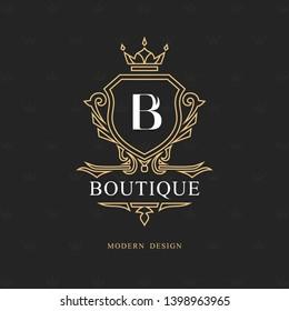 Monogram design elements, graceful template. Calligraphic elegant line art logo design. Letter emblem B sign for Royalty, business card, Boutique, Hotel, Restaurant, wine. Frame. Vector illustration