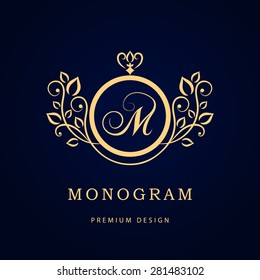 Monogram design elements, graceful template. Calligraphic elegant line art logo design. Letter M. Business sign for Royalty, Boutique, Cafe, Hotel, Heraldic, Jewelry, Wine. Vector illustration
