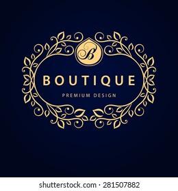 Monogram design elements, graceful template. Calligraphic elegant line art logo design. Letter B. Business sign for Royalty, Boutique, Cafe, Hotel, Heraldic, Jewelry, Wine. Vector illustration