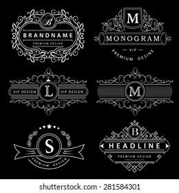 Monogram design elements, graceful template. Calligraphic elegant line art logo design. Letter M, L, B. Business sign for Royalty, Boutique, Cafe, Hotel, Heraldic, Jewelry, Wine. Vector illustration