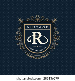 Monogram design elements, graceful template. Calligraphic elegant line art logo design. Letter emblem R. Business sign for Royalty, Boutique, Cafe, Hotel, Heraldic, Jewelry, Wine. Vector illustration