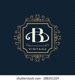 Monogram design elements, graceful template. Calligraphic elegant line art logo design. Letter emblem B. Business sign for Royalty, Boutique, Cafe, Hotel, Heraldic, Jewelry, Wine. Vector illustration