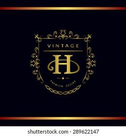 Monogram design elements, graceful template. Calligraphic elegant line art logo design. Letter emblem H. Business sign for Royalty, Boutique, Cafe, Hotel, Heraldic, Jewelry, Wine. Vector illustration