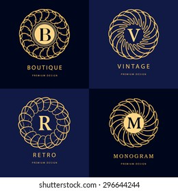 Monogram design elements, graceful template. Calligraphic elegant line art logo design. Letter emblem B, R, M, V for Royalty, business card, Boutique, Hotel, Heraldic, Jewelry. Vector illustration