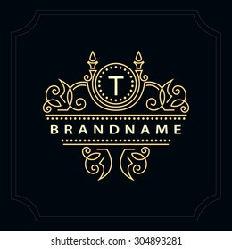 Monogram design elements, graceful template. Calligraphic elegant line art logo design. Letter emblem T for Royalty, business card, Boutique, Hotel, Restaurant, Cafe, Jewelry. Vector illustration