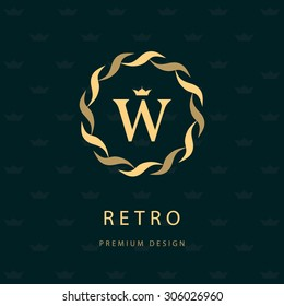 Monogram design elements, graceful template. Elegant line art logo design. Letter emblem W. Retro Vintage Insignia or Logotype. Business sign, identity, label, badge, Cafe, Hotel. Vector illustration