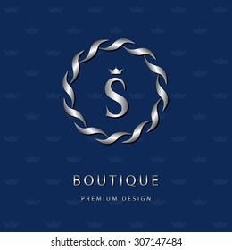 Monogram design elements, graceful template. Elegant line art logo design. Letter emblem S. Retro Vintage Insignia or Logotype. Business sign, identity, label, badge, Cafe, Hotel. Vector illustration