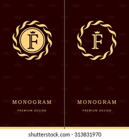 Monogram design elements, graceful template. Letter emblem sign F. Calligraphic elegant line art logo design for business cards, Royalty, Boutique, Cafe, Hotel, Heraldic, Jewelry. Vector illustration