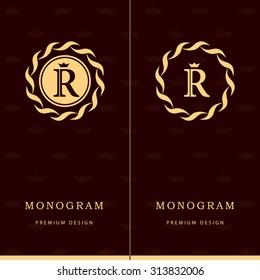 Monogram design elements, graceful template. Letter emblem sign R. Calligraphic elegant line art logo design for business cards, Royalty, Boutique, Cafe, Hotel, Heraldic, Jewelry. Vector illustration