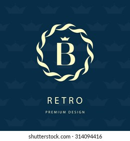 Monogram design elements, graceful template. Elegant line art logo design. Letter emblem B. Retro Vintage Insignia or Logotype. Business sign, identity, label, badge, Cafe, Hotel. Vector illustration