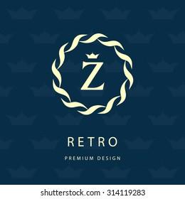 Monogram design elements, graceful template. Elegant line art logo design. Letter emblem Z. Retro Vintage Insignia or Logotype. Business sign, identity, label, badge, Cafe, Hotel. Vector illustration