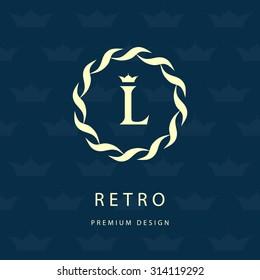 Monogram design elements, graceful template. Elegant line art logo design. Letter emblem L. Retro Vintage Insignia or Logotype. Business sign, identity, label, badge, Cafe, Hotel. Vector illustration