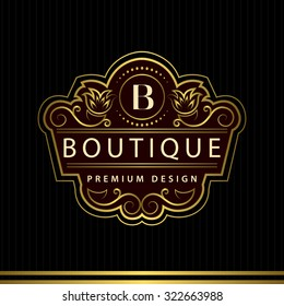 Monogram design elements, graceful template. Calligraphic Elegant line art logo design Letter emblem B identity for Restaurant, Royalty, Boutique, Cafe, Hotel, Heraldic, Jewelry, Fashion, Wine. Vector