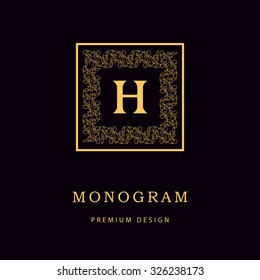 Monogram design elements, graceful template. Calligraphic Elegant line art logo design Letter emblem H identity for Restaurant, Royalty, Boutique, Cafe, Hotel, Heraldic, Jewelry, Fashion, Wine. Vector